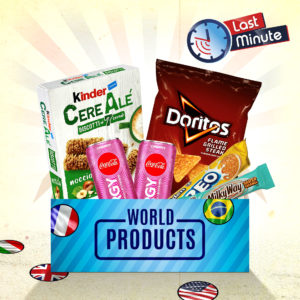Carton avec différents produits dont des Doritos, Coca-Cola, Kinder, Oreo, Milky Way